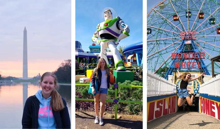 Photo collage of woman standing in front of Washington Monument, woman standing in front of a Buzz Lightyear statue, and woman jumping in front of a Ferris wheel