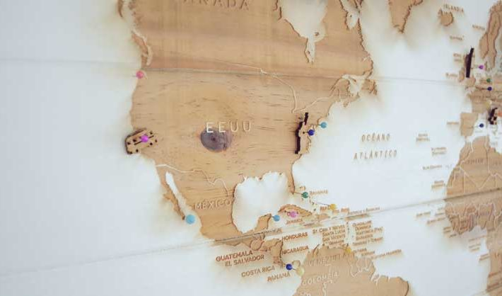 Canvas map of the world