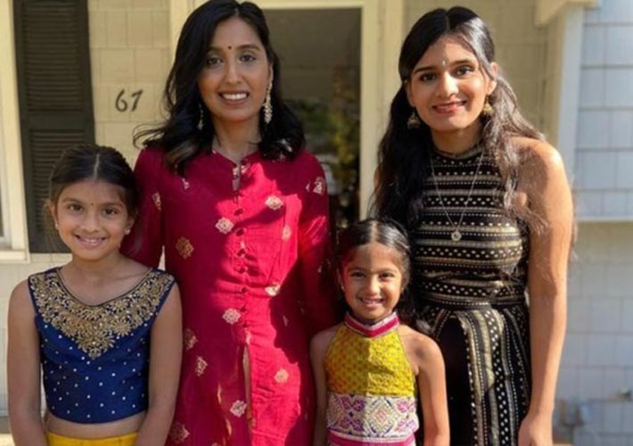A catholic au pair with her Hindu host family, dressed for Diwali..