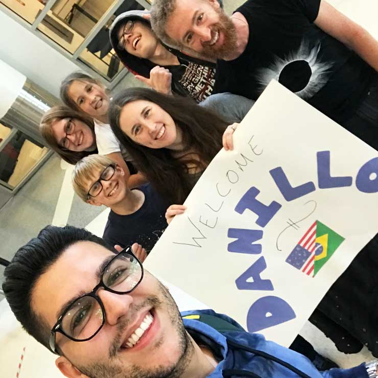 The Rhines family welcomed their au pair Danillo from Brazil.
