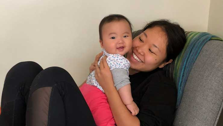 It's all smiles and laughs when baby Amilea and au pair Misaki are together.