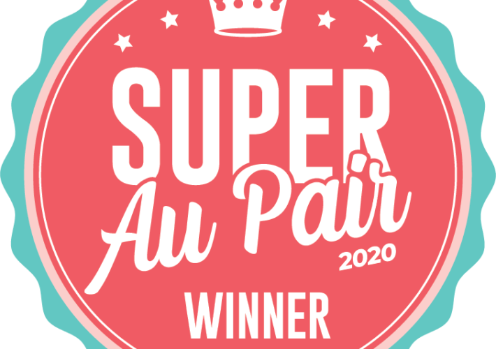 "Badge graphic with ""Super Au Pair 2020 Winner"" text."